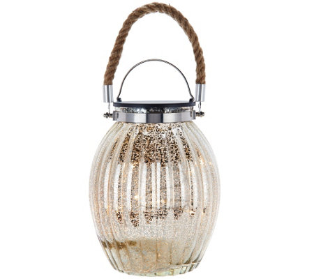 "Illuminated 10"" Ribbed Vintage Glass Lantern by Valerie"