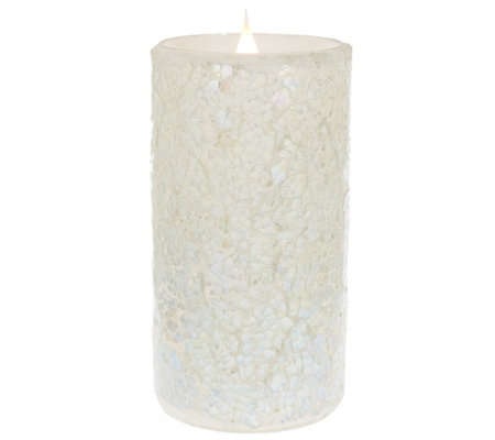 """As Is"" Solare Mosaic 6"" Flameless Candle with Multi-Hue Flame"