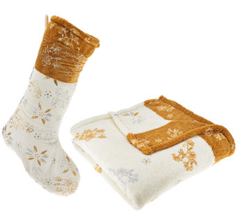 """As Is"" Temp-tations 50""x70"" Throw & Stocking Set by Berkshire - H207582"