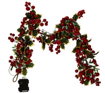 """As Is"" 20"" Illuminated Berry Wreath or 4' Garland by Valerie - H207682"