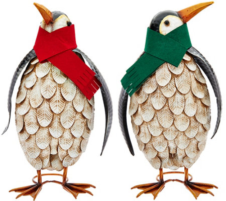 Plow and Hearth Outdoor/Indoor Set of 2 Penguins with Scarves
