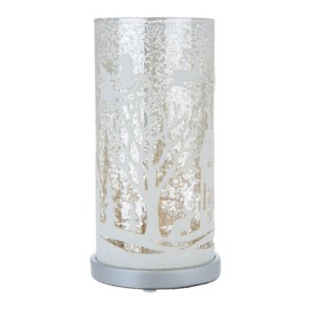 Illuminated Mercury Glass Pillar with Holiday Scene by Valerie