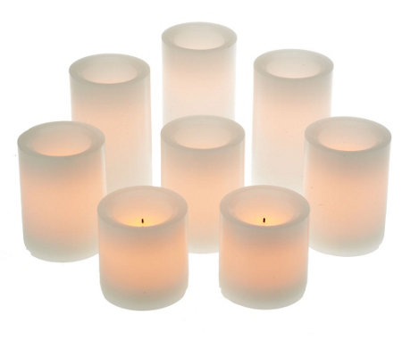 """As Is"" Candle Impressions 8pc Flameless Candle Pillar Set w/ Timer"