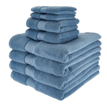 Northern Nights 8 Piece Luxury 100% Cotton Generous Size Bath Towel Set
