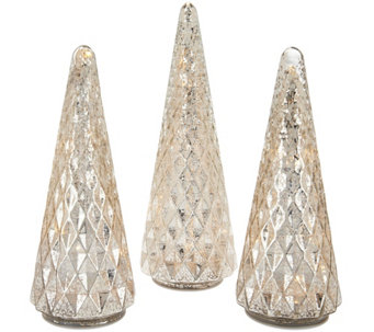 """As Is"" Set of 3 Illuminated Diamond Pattern Trees by Valerie - H210982"