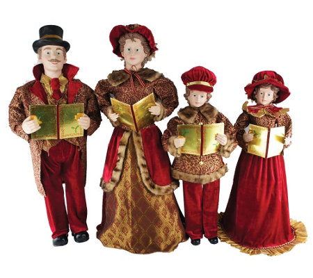 "Set of 4 27"" to 37"" Victorian Carolers by Santa's Workshop"