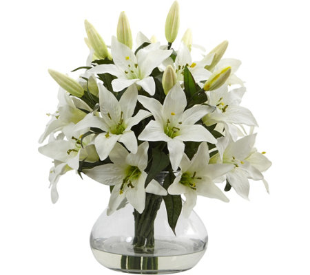 Large Lily Arrangement with Vase by Nearly Natural