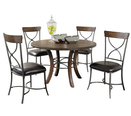 Hillsdale Cameron 5pc Round Dining Set w/X-backChairs