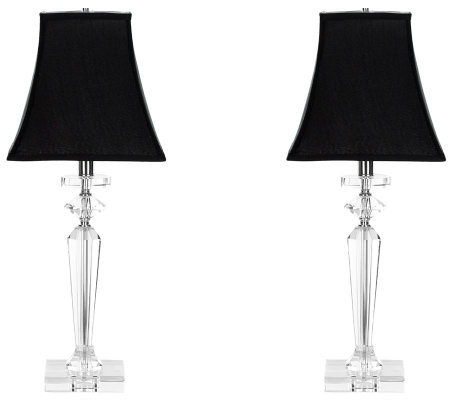 Safavieh Set of 2 Crystal Table Lamps w/Black Silk Shades