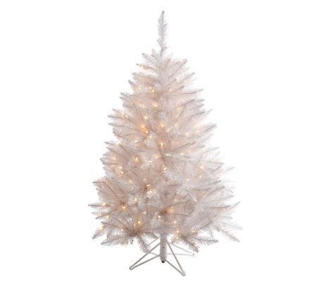 4-1/2' White Sparkle Spruce Tree w/ Clear Dura-Lit Lights