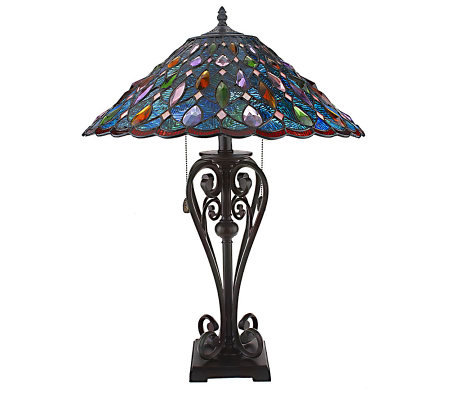 J.J. Peng Stained Glass 26-inch Table Lamp with Crystals