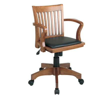 Deluxe Banker's Chair by Office Star - Fruit Wood/Black
