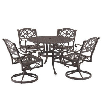 "Home Styles Cast Aluminum 48"" Round Table w/4 Swivel Armchairs - H176583"