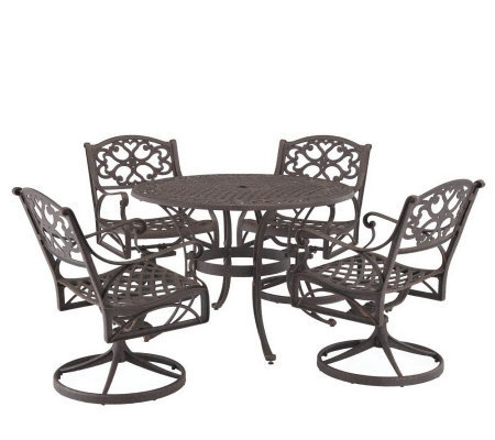 "Home Styles Cast Aluminum 48"" Round Table w/4 Swivel Armchair"