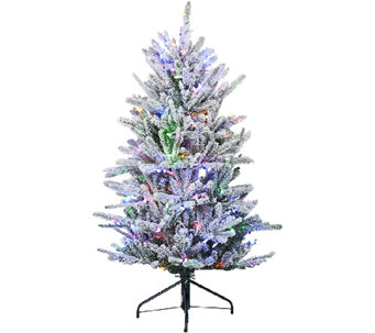 Santa's Best 5' Snow Flurry Tree with 7 Function LED Lights - H205683