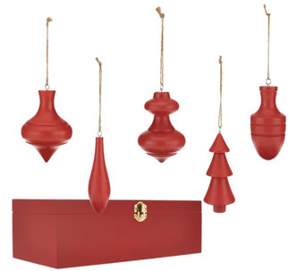 ED On Air Set of 5 Wood Finial Ornaments by Ellen DeGeneres - H205983