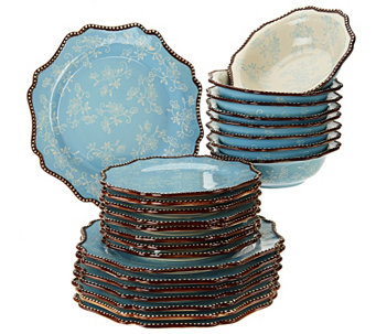 """As Is"" Temp-tations Floral Lace 24- pc. Dinnerware Service for 8 - H206383"