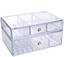 Set of 2 Clear Stacking Cosmetic Organizers by Lori Greiner - H207183