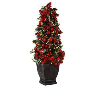 """As Is"" 23"" Illuminated Potted Berry Tree by Valerie - H207683"