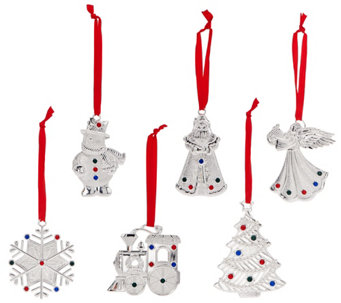 Lenox Set of 6 Silver Plated Crystal Gem Charm Ornaments in Gift Boxes - H208483