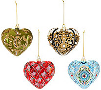 Joan Rivers 2016 Set of 4 Russian Inspired Heart Ornaments - H209483