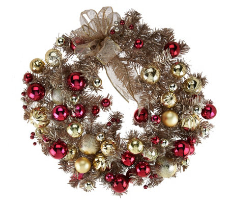 "22"" Red & Gold Vintage Ornament Wreath"