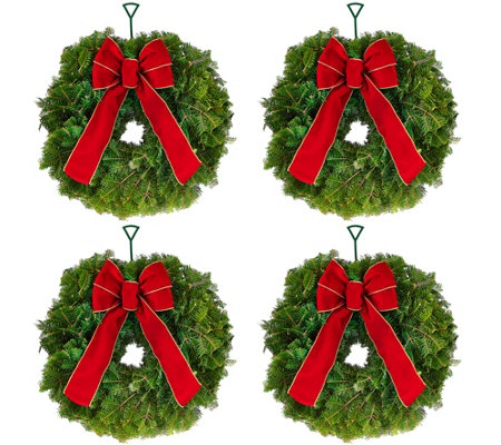 Del. Week 11/14 Set of 4 Fresh Mini Balsam Wreaths by Valerie
