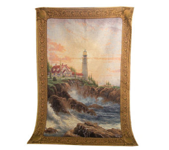 """As Is"" Thomas Kincade ""Clearing The Storms"" Wall Tapestry w/Rod - H210783"