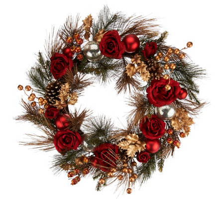 """As Is"" 21"" Velvet Rose, Berry and Pinecone Wreath"