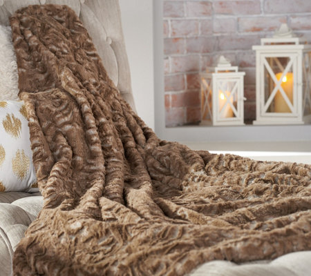 """As Is"" Dennis Basso 50"" x 60"" Tonal Faux Fur Throw"