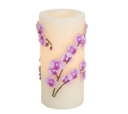 "Candle Impressions 7"" Embossed Orchid Flameless Candle"