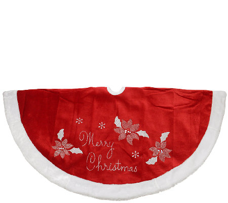 "48"" Embroidered Poinsettia Tree Skirt by Northlight"