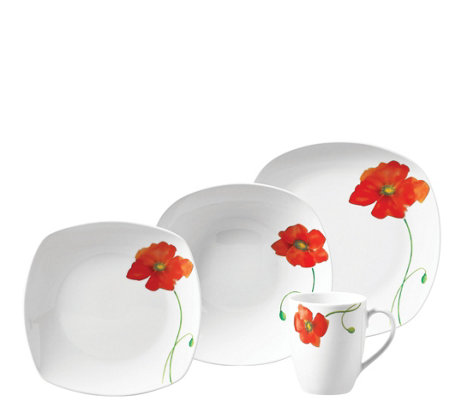 Tabletops Gallery 16-Pc Poppy Soft-Square Dinnerware Set