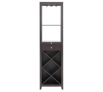 Austin Brown Wood Modern Wine Tower - H359683