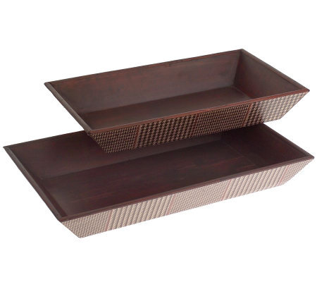 Set of 2 Wood Plaid Stackable Serving Trays by Linda Dano