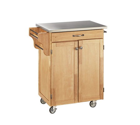 Home Styles Cuisine Cart Natural Finish StainleSteel Top