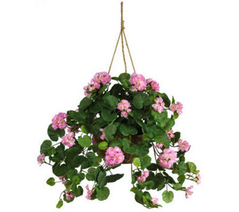 Geranium Hanging Basket by Nearly Natural - H162384