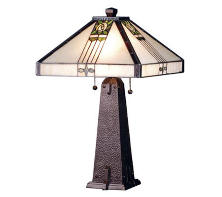 "Tiffany Style 23""H Pasadena Rose Table Lamp"