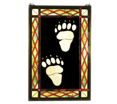 Tiffany Style Bear Tracks Stained Glass WindowPanel