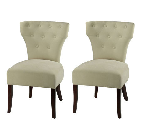 Side Plush Linen Dining Chair with Button Trim-Set of 2