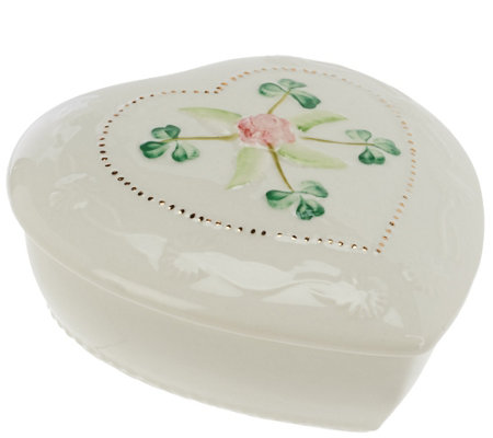 Belleek Heart Keepsake Box with Flower Detail