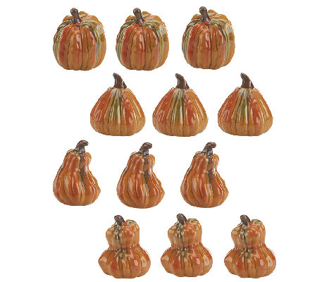 12-piece Mini Ceramic Pumpkin Set by Valerie