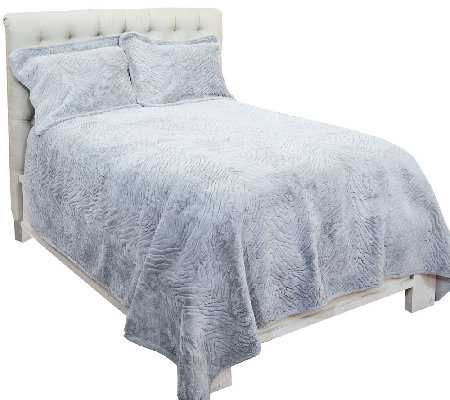 Dennis Basso Zebra Faux Fur Full/Queen Coverlet Set