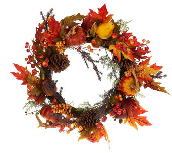 "24"" Pumpkin and Pomegranate Fall Foliage Wreath - H203384"