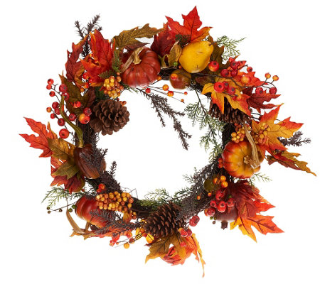 "24"" Pumpkin and Pomegranate Fall Foliage Wreath"