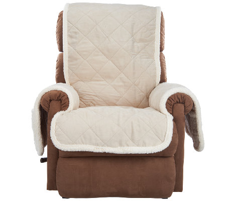 Sure Fit Reversible Faux Suede/Sherpa Recliner Furniture Cover  sc 1 st  QVC.com : faux leather recliner covers - islam-shia.org