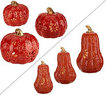 Temp-tations Set of 3 Lit Ceramic Pumpkins or Gourds - H206184