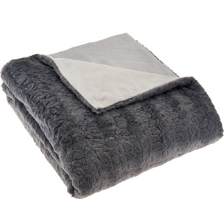 "Dennis Basso Madison Ave. 50""x60"" Faux Fur and Micromink Throw"