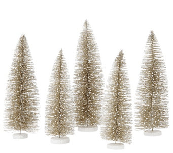 """As Is"" Set of 5 Decorative Bottlebush Trees by Valerie - H208084"