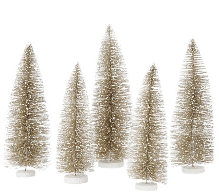 """As Is"" Set of 5 Decorative Bottlebush Trees by Valerie"